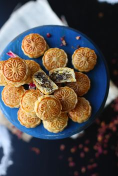 """Stuffed cookie. """"A marriage between a Moon Cake and Maamoul and out comes offspring, GUJIA."""""""
