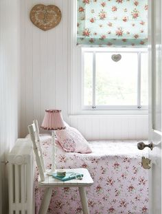 pretty bedding, lampshade, and heart clock