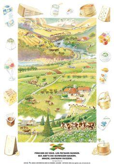 Milchprodukte Shops, Poster, Vintage World Maps, Switzerland, Dairy, Tents, Retail, Billboard, Retail Stores