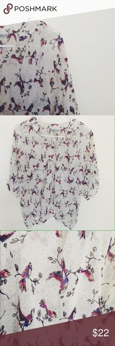 White Sheer Bird Blouse Cute Bird Blouse. It is transparent (last pic). Great condition. Size S Charlotte Russe Tops Blouses