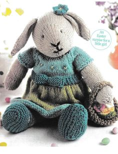 cf2ed05d7b79 PDF Easter Bunny Knitting Pattern Rare Retro by FineCosmetics Animaux En  Tissu, Chaussons Bébé,