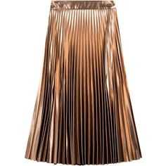 Tara Jarmon Pleated Lamé Skirt ($439) ❤ liked on Polyvore featuring skirts, bottoms, pink, mid calf skirts, pleated midi skirt, brown pleated skirt, tara jarmon and calf length skirts
