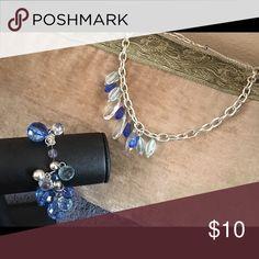 2 pc elastic bracelet/silver necklace 2 pc elastic bracelet/silver beaded blue, and clear necklace Jewelry Bracelets
