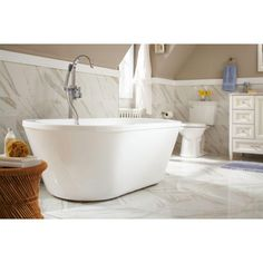 This freestanding tub is 63 in. long, which makes it a great choice for a smaller bathroom.