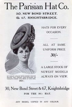 The Parisian Hat Co., offering hats for every occasion! Don't you just love the jaunty angle of that hat. Spectacular. Paris was in its peak as a fashion center during the 1900s.