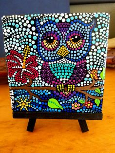 OWL on a Branch Hand Painted Dot Art on Stone by P4MirandaPitrone