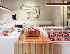 Sant Cugat (Barcelona) on Behance Butcher Store, Carnicerias Ideas, Meat Store, Supermarket Shelves, Meat Markets, Shop Fittings, Retail Design, Store Design, Interior Decorating