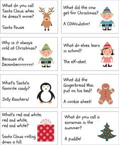 13 Awesome christmas cracker jokes for kids images Christmas Riddles For Kids, Christmas Party Games, Free Christmas Printables, Christmas Humor, Winter Christmas, Holiday Fun, Christmas Crafts, Xmas Party, Kids Christmas Crackers