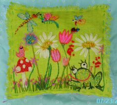 My newest crewel pillow design... all freehand!