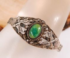OLD NATIVE AMERICAN STERLING SILVER GREEN TURQUOISE CUFF BRACELET VINTAGE #192E