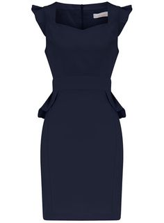 Petite navy polyester dress with peplum frill waist detail and sweatheart neckline. $49