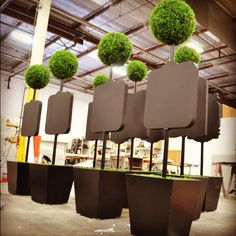 Scenic Signage - Topiaries for an upcoming Goldman Sach's event