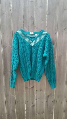 f997472577 Vintage 1980s Teal Collegiate V Neck Cable Knit Cotton Sweater Izod Lacoste  Sport Sporty Sweater Tennis Golf
