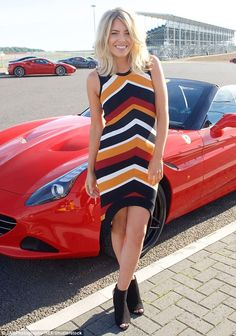 Ray of sunshine!Mollie King, 29, lived up to her reputation as a trend-setter  at the Ferrari California T Experience day at the Silverstone Stowe Circuit in Northamptonshire on Friday