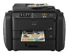 Epson WorkForce Pro WF-R4640 EcoTank Wireless Color All-in-One Supertank Printer with Scanner, Copier, Fax, Ethernet, Wi-Fi, Wi-Fi Direct, Tablet and Smartphone (iPad, iPhone, Android) Printing, Low-Cost Replacement Ink Packs. Cartridge-free printing - comes with up to 2 years of ink in the box (1). Includes enough ink to print up to 20,000 pages black/20,000 color (2) - maximize productivity. Ultra low-cost replacement ink packs - DURABrite Ultra Ink for smudge, fade and water resistant...