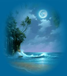 blue beach full moon picture and wallpaper