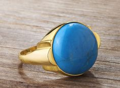 REAL 10k Solid Yellow Gold Men's Ring with Natural Turquoise Gemstone 59431 #eJOYA # $169