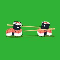 Duel de Sushi - T-Shirt - schönes laFraise Design von Eown Cute Cartoon Drawings, Kawaii Drawings, Sushi Cartoon, Cute Puns, Sushi Art, Funny Illustration, Cartoon Illustrations, Art Graphique, Cute Food