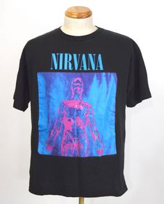 True Vintage 1992 Nirvana Sliver Black Tour T-Shirt Mens XL  #WildOats #GraphicTee