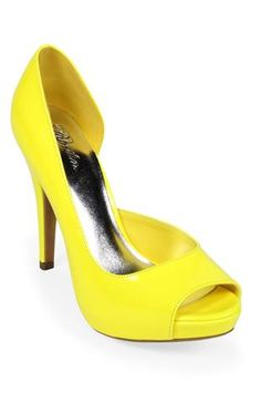 ea1129ab8322 Yellow heels with a cut out. Yellow HeelsPeep ToeBridesmaidsBridesmaidFlower  ...