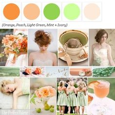 Orange, Peach, Light Green, Mint + Ivory via The Perfect Palette Library! xo