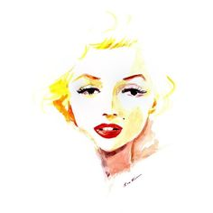 Marilyn Monroe watercolor illustration ❤ liked on Polyvore featuring faces