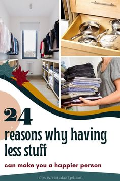 We all have too much stuff. Our homes have too much clutter. I know I do and I bet you do as well. So here are 24 reasons why having less stuff can make you a happier person. Bathroom Storage Solutions, Small Bathroom Organization, Home Organization Hacks, Storage Hacks, Getting Organized At Home, Declutter Home, Make Happy, Make It Yourself, How To Make