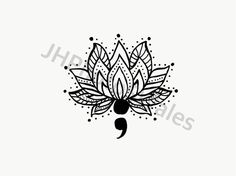 Lotus flower and semi colon                                                                                                                                                                                 More