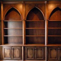 Gothic Style Bookcases with Distressed Finish custom made by Artisan Custom Bookcases Unique Bookshelves, Home Library Design, Gothic Furniture, Home Libraries, Gothic House, Victorian Gothic, Gothic Home Decor, Miniature Furniture, Handmade Home