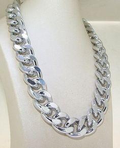 """24""""  Heavy Shiny Cut Silver Plated Chunky  Curb Chain Necklace curb chain fashion necklace chain necklace Choker. $12.98, via Etsy."""
