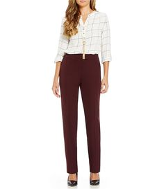 Deep Burgundy:Investments 5TH AVE fit Modern Straight-Leg Pants