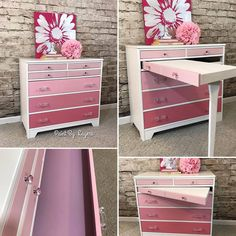 Ombre Dresser/Desk Combo painted in shades of Annie Sloan pink and pure white.