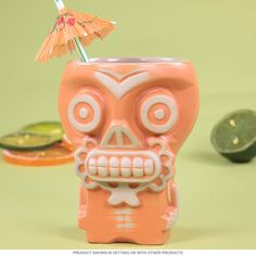 This killer tiki mug was designed by Munktiki as a tribute to the Dia de los Muertos holiday celebration. It's made of fired ceramic with a high gloss glaze, and holds 16 oz. of your favorite beverage. Great for Hawaiian tiki bars and Polynesian cocktail lounges. Measures 4W x 5.25H inches.