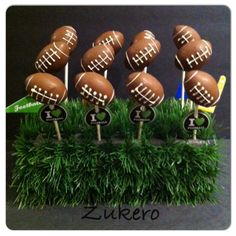 Football Cake Pops Football Cake Pops, Holiday Cakes, Holiday Decor, Cake Pop Designs, Christmas Ornaments, Create, Food, Christmas Jewelry, Meals