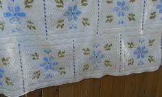 Vintage Chenille Bedspread Floral Fringe Edge 92 x by Makinscents