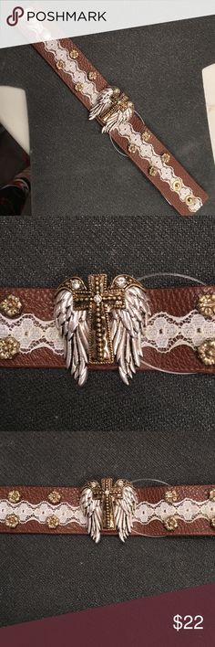 """Bracelet Angel Wings and Cross.  Brown/ beige Bracelet Angel Wings and Cross.  Brown/ beige. Silver tone Angel Wings with Gold tone cross on brown leather with beige lace and gold studs.  Approximately 8 """" long x 1"""" wide.  Stunning.  Lead compliant Jewelry Bracelets"""