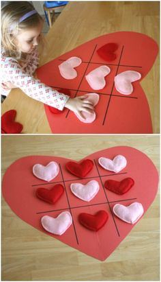 Tic Tac Toe Hearts - 20 Adorable And Easy DIY Valentine's Day Projects For Kids Valentines Bricolage, Valentine Day Crafts, Christmas Crafts For Kids, Christmas Fun, Diy And Crafts Sewing, Crafts For Girls, Diy For Kids, Kids Crafts, Kids Fun