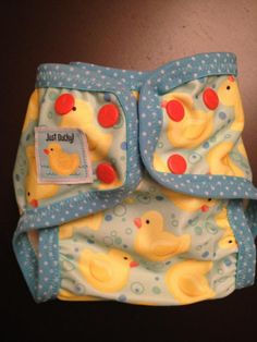 CUTE diaper made from Babyville Duck PUL. Love the blue FOE! #sewing #diapers #DIY