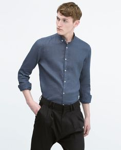 Image 2 of LINEN SHIRT WITH MAO COLLAR from Zara