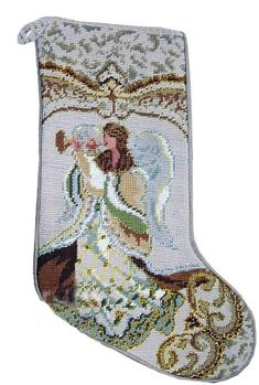 "Gold Musical Angel with Horn Christmas Needlepoint Stocking - 11"" x 18"""