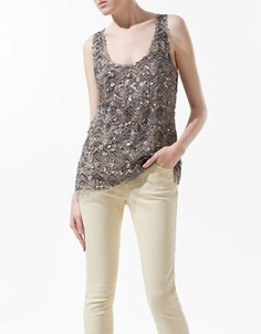 The top...SEQUINNED TULLE T-SHIRT - T-shirts - Woman - ZARA