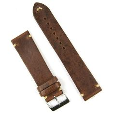 The Classic Vintage Handsewn Chestnut Leather Ecru-stitch 20MM Watch Band | BandRBands