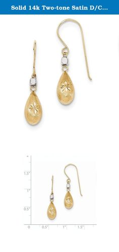 Solid 14k Two-tone Satin D/C Puffed Teardrop Shepherd Hook Earrings 32 x6mm. Product Type:Jewelry|Jewelry Type:Earrings|Earring Type:Drop & Dangle|Material: Primary:Gold|Material: Primary - Color:Two-Tone|Material: Primary - Purity:14K|Length of Item:32 mm|Width of Item:6 mm|Earring Closure:French Wire.