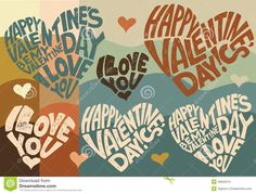 Postcards, posters, greeting in the Valentine's Day, February 14