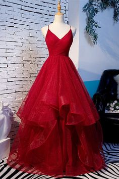 Red Tulle Layered Spaghetti Straps V Neck Lace Up Prom Dress, Evening Dress - S. - Red Tulle Layered Spaghetti Straps V Neck Lace Up Prom Dress, Evening Dress – Source by madlynmirage – Straps Prom Dresses, Pretty Prom Dresses, A Line Prom Dresses, Sexy Dresses, Red A Line Dress, Senior Prom Dresses, Red Formal Dresses Long, Cinderella Prom Dresses, Burgundy Prom Dresses