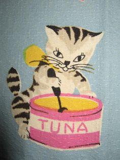 Vintage 1950s Here's Kitty Cat Kitchen Tea Towel by randomretro