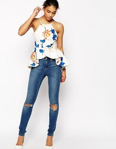 Browse online for the newest WYLDR Lotsa Luck Peplum Top In Floral Print styles. Shop easier with ASOS' multiple payments and return options (Ts&Cs apply). Blusas Top, African Dress, Street Style Women, Fashion Online, Asos, Floral Prints, Tank Tops, My Style, Trendy Fashion