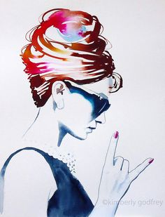 Audrey Rocks Art Print Original Painting Fashion Illustration Vintage 1960s Style Icon Hot Pink Hair Salon Decor