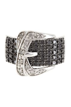 Savvy Cie Pave Black & White Diamond Buckle Ring - 0.75 ctw by Savvy Cie on @HauteLook