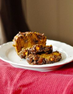 Nutella Chip Pumpkin Bread...so incredibly moist, with just a hint of chocolate / Nutella flavor.  Perfect with a cup of coffee!